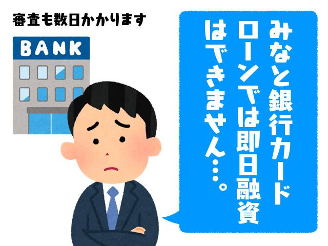 みなと銀行カードローンでは即日融資はできません…。