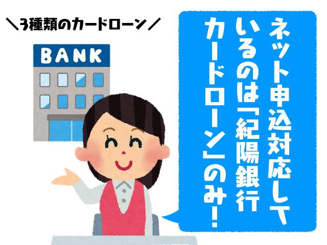 ネット申し込み対応しているのは「紀陽銀行カードローン」のみ!