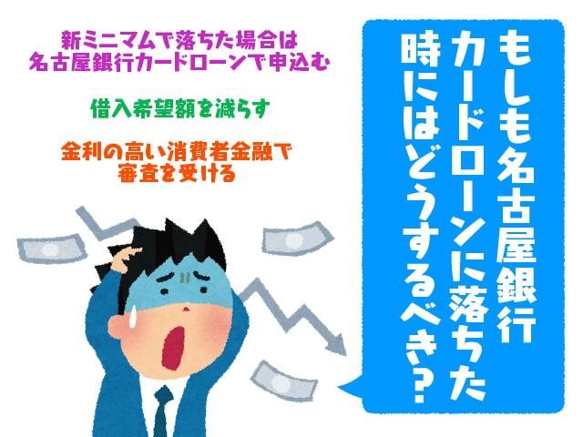 もしも名古屋銀行カードローンに落ちた時にはどうするべき?