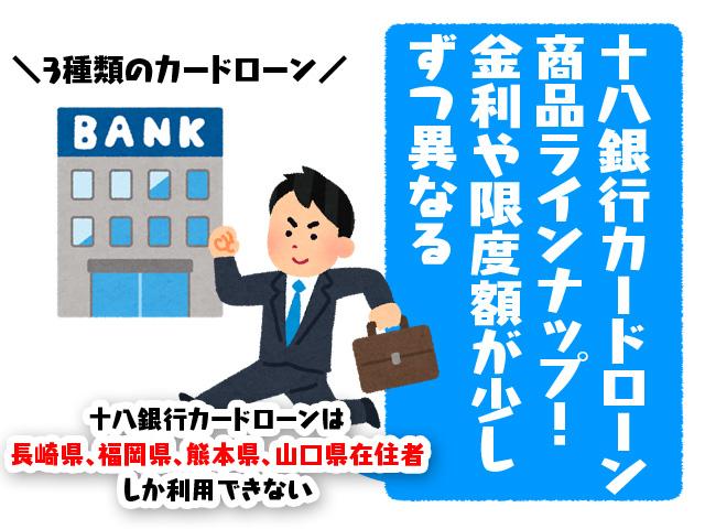 十八銀行カードローン商品ラインナップ!金利や限度額が少しずつ異なる
